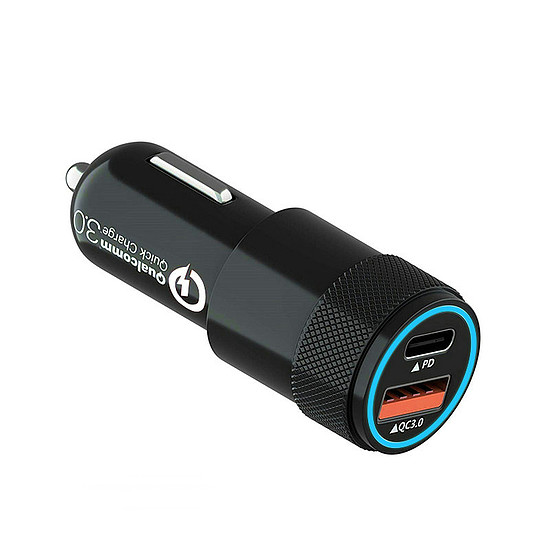 Autós töltő csatlakozó, C típusú és USB-s fekete (G-C30)
